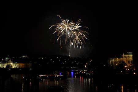 Great New Year Firework in Prag 2014 Stock Photo - 24824623