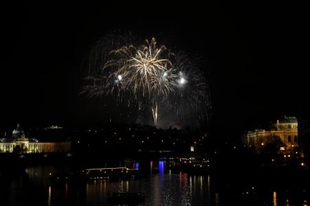 Great New Year Firework in Prag 2014 Stock Photo - 24824621