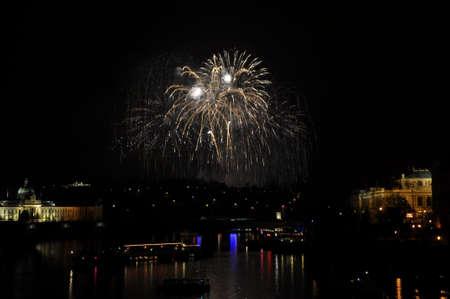 Great New Year Firework in Prag 2014 Stock Photo - 24824622
