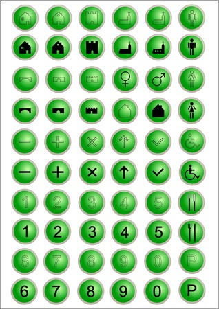 set of 60 web icons, green buttons Vector