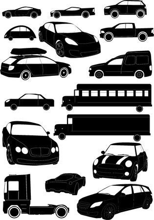 rigorous: set of black and white rigorous car vectors