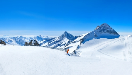 beautiful winter panorama of alps without skiers