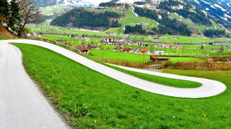 beautiful scenery of serpentine alps panorama in great valley photo