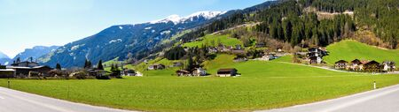 beautiful scenery of serpentine alps panorama in great valley Editorial