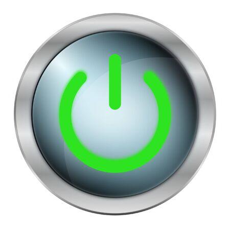 mettalic: luxury green power button in mettalic design