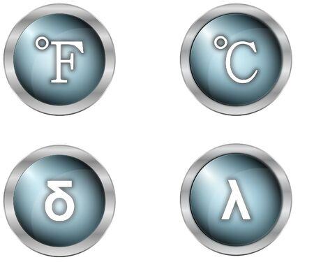 mettalic: luxury symbols as buttons in mettalic design