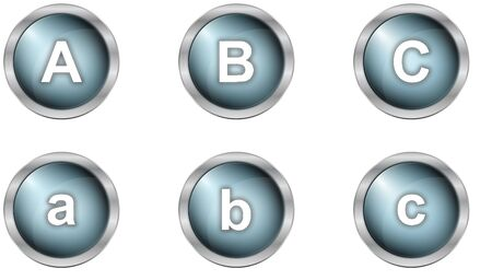 set of alphabet buttons in mettalic design photo