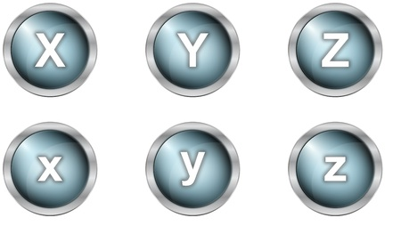 set of alphabet buttons in mettalic design Stock Photo