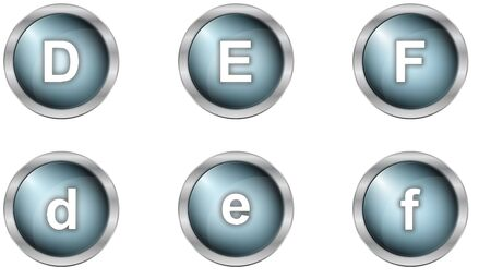 mettalic: set of alphabet buttons in mettalic design Stock Photo