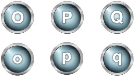 set of alphabet buttons in mettalic design photo