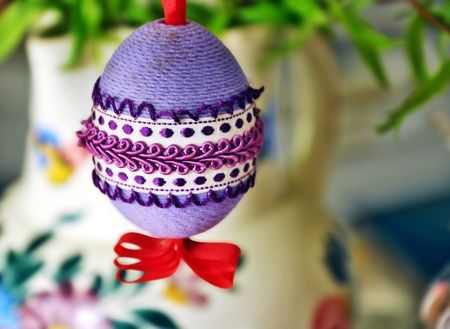 close up of easter decoration in many colours  photo