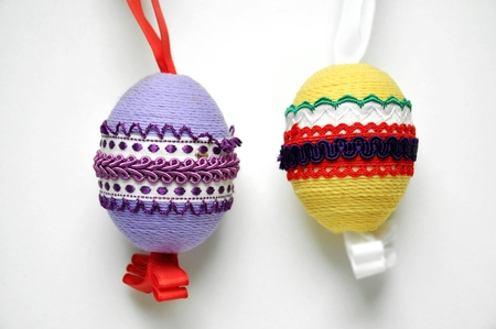 close up of easter decoration in many colors  photo