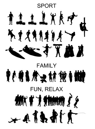 set of silhouettes of people in situation Vector