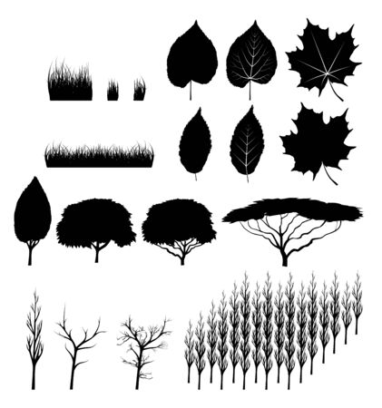 set of trees and leaves and grass Vector