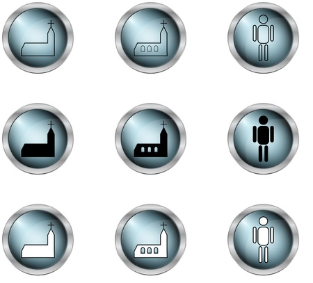 mettalic: set of vector icon in buttons in mettalic design Illustration