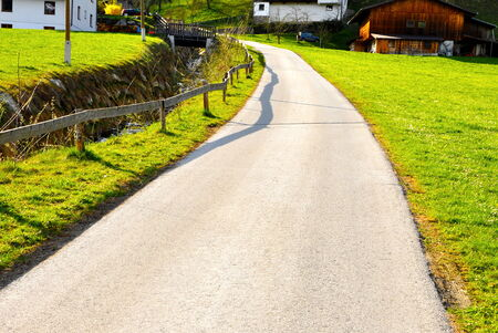 beautiful curve road in alps, nice scenery photo