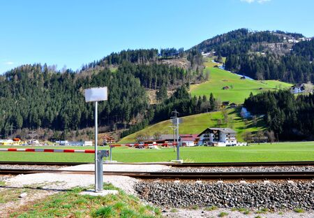 beautiful scenery of alps railway and train