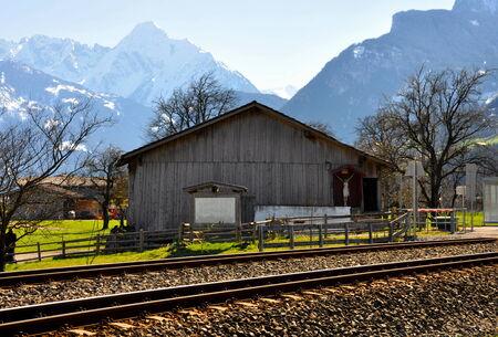 beautiful scenery of alps railway and train photo