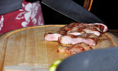 roasted steak with herbs and spice photo