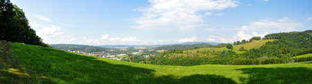 beautiful landscape panorama of fields and meadows photo
