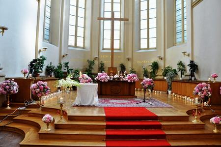 beautiful wedding in big church photo