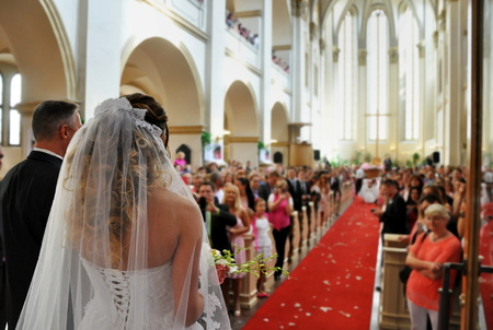 marriages: beautiful wedding in big church