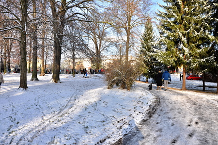 JAROMER, CZECH REP - DECEMBER 28, 2014: snowy walk in big park
