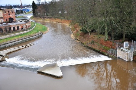 weir: JAROMER, CZECH REP - DECEMBER 28, 2014: big weir on river Elbe