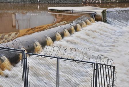 JAROMER, CZECH REP - DECEMBER 28, 2014: big weir on river Elbe photo