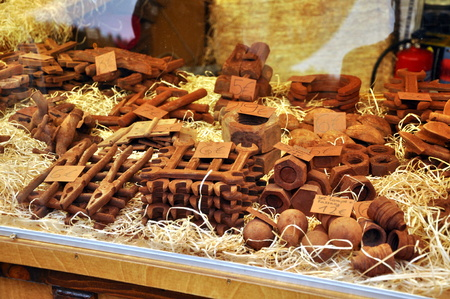 striezelmarkt: DRESDEN, GERMANY, DECEMBER 12, 2014: Candy and chocolate at the Christmas markets