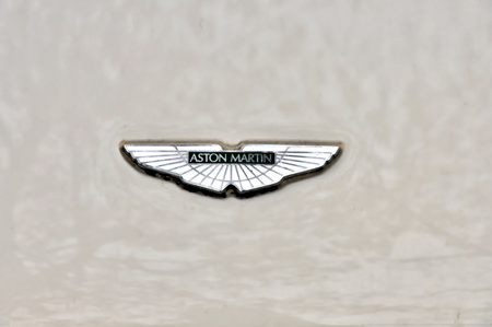 DRESDEN, GERMANY, DECEMBER 12, 2014: Logo of car Aston Martin