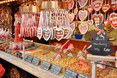 DRESDEN, GERMANY, DECEMBER 12, 2014: Candy and chocolate at the Christmas markets