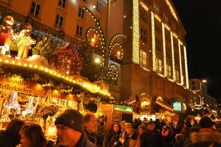 striezelmarkt: DRESDEN, GERMANY, DECEMBER 12, 2014: Christmas markets in Dresden