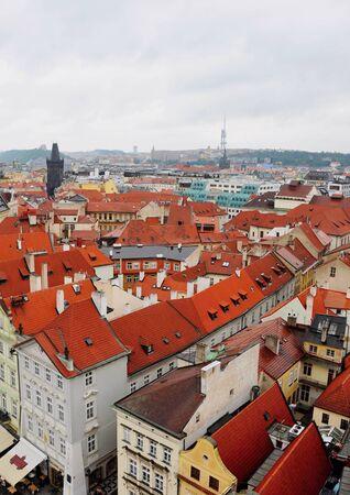 PRAGUE, THE CZECH REP., JUNE 23, 2009: nice  view on capital city Prague from birds eye