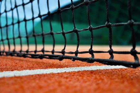 tenis: close up de red de tenis Foto de archivo