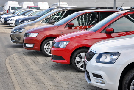 PRAGUE, THE CZECH REPUBLIC, 02.08.2015 - Brand new cars Skoda in row in fron of Car Store Skoda in Prague