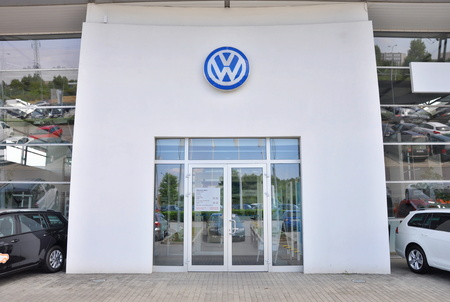 PRAGUE, THE CZECH REPUBLIC, 02.08.2015 - Volkswagen car store in Prague
