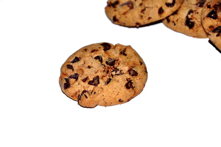 Chocolate cookies on isolated background