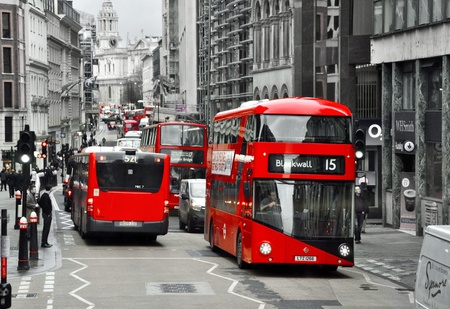 doubledecker: LONDON, THE UNITED KINDGOM, 26.01.2016 - London red doubledecker in black and white color in traffic Editorial
