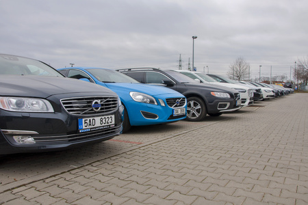 PRAGUE, THE CZECH REPUBLIC, 12.03.2016 - Volvo cars in front of car store Volvo Publikacyjne