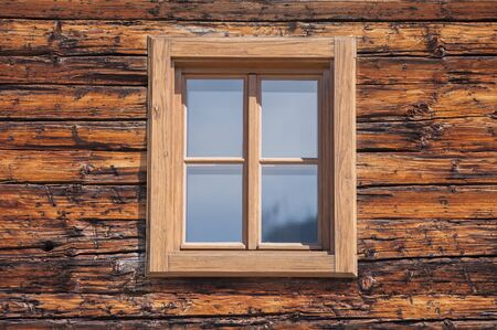 wooden window: Natural wooden window on wooden background