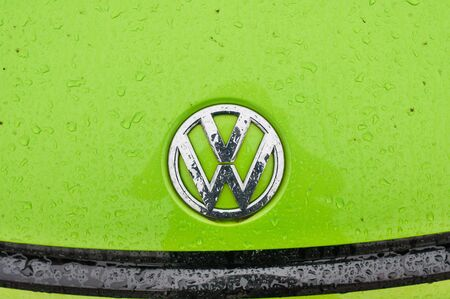 PRAGUE, THE CZECH REPUBLIC, 16.12.2016 - detail logo of car brand Volkswagen. Closeup of green VW