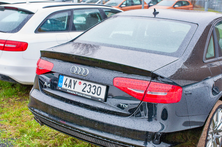 PRAGUE, THE CZECH REPUBLIC, 18.12.2016 - rear view of new car Audi parked in front of Audi dealership.