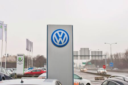PRAGUE, THE CZECH REPUBLIC, 18.12.2016 - Volkswagen branding in front of car dealership VW