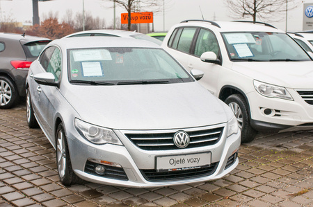 PRAGUE, THE CZECH REPUBLIC, 18.12.2016 - Brand new Volkswagen Passat parking in front of Car dealership VW in Prague