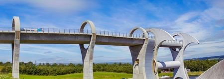 The Falkirk Wheel, rotating boat lift in Scotland, Europe.