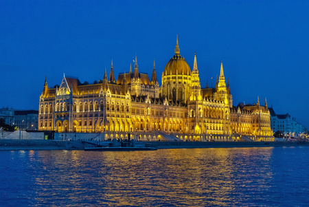 Night Budapest, capital city of Hungary. Beautiful night view of town across the river.