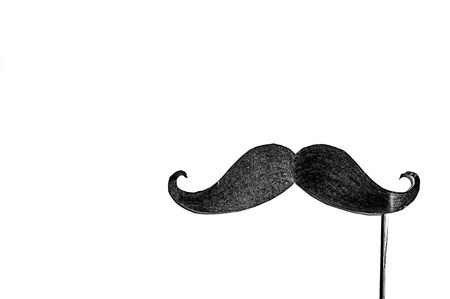 Symbol of Movember. Poster and banner. Awareness of mens health issues, such as prostate cancer. Stock Photo