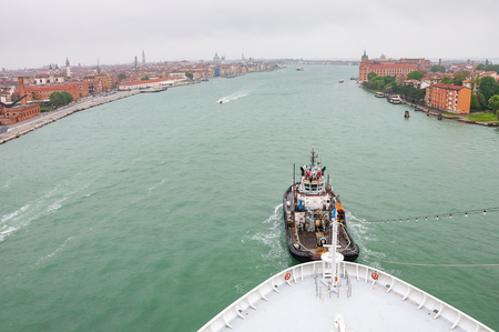Panorama view of Venice. Panoramic aerial cityscape of Venice, Veneto, Italy.