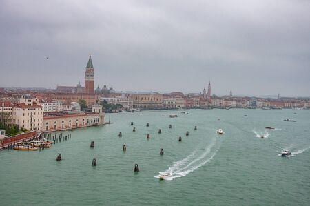 Venice, Italy, 23.4.2019: Panorama view of Venice historical city. Panoramic aerial cityscape, Veneto, Italy. 報道画像